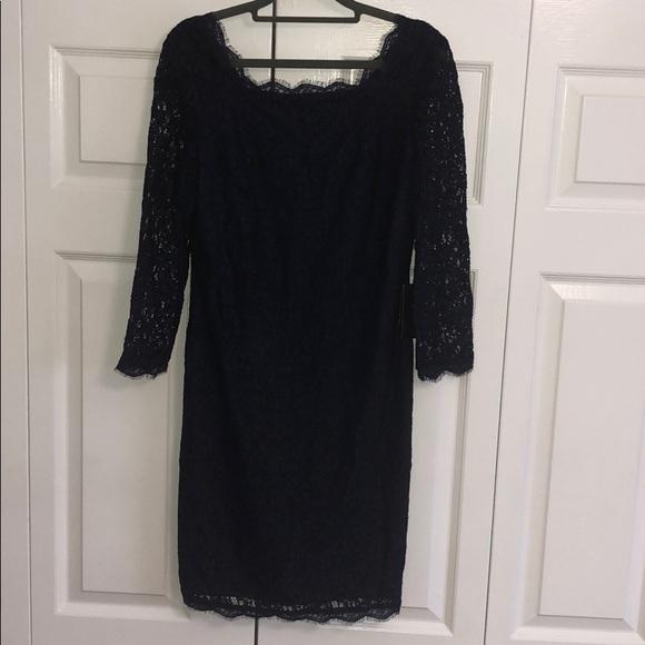 f6e548b3c9bf Adrianna Papell Dresses | Nwt 34 Sleeve Navy Lace Dress 10 | Poshmark